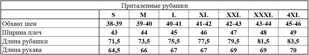 Таблица приталенные